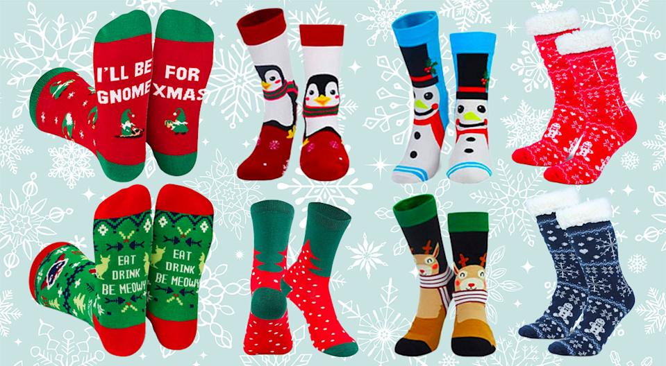 Christmas socks are officially the most fun last-minute gift you'll find. (Photo: Amazon)