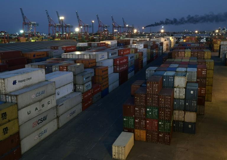 Containers pictured in 2018 at a terminal at the docks in Buenos Aires, Argentina -- the country's vital exports started to slump in January when the new coronavirus began spreading in China, a major trade partner