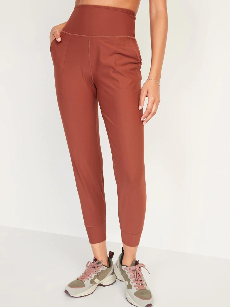 <p>If you like wearing workout pants all day, swap in coppery <span>Old Navy High-Waisted PowerSoft 7/8-Length Joggers</span> ($20, originally $40) so you can squeeze in some fitness in between lounging and working from home.</p>