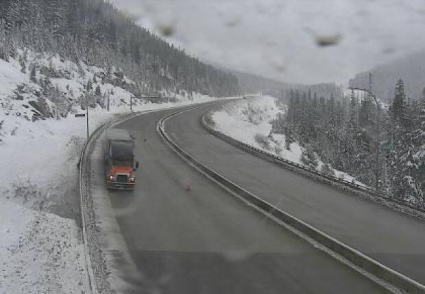 Looking north at the Great Bear Snowshed on the Coquihalla Highway at 8:30 a.m. PT on Friday. Environment Canada said up to 20 centimetres of snow is expected for the mountain pass by evening. (Drive BC - image credit)