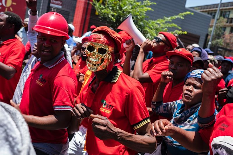 The leftistEconomic Freedom Fighters (EFF) party, which previously backed Gordhan, protested outside the Johannesburg-based inquiry (AFP Photo/Wikus de Wet)
