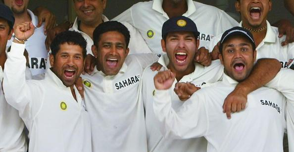 MULTAN, PAKISTAN - APRIL 1:  (L to R Sachin Tendulkar, Anil Kumble, V.V.S Laxman and Virender Sehwag of India  celebrate their teams victory after day five of the first Test Match between Pakistan and India at Multan Stadium on April 1, 2004 in Multan, Pakistan. India claimed their first-ever Test win in Pakistan by an innings and 52 runs. (Photo by Scott Barbour/Getty Images)