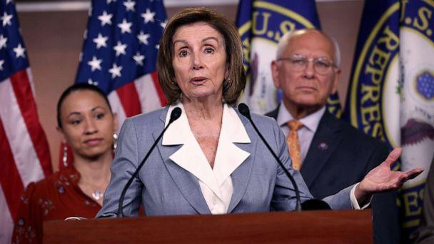 PHOTO: Speaker of the House Nancy Pelosi speaks alongside Rep. Sharice Davids and Rep. Paul Tonko at a press conference on the INVEST in America Act, June 30, 2021, in Washington, D.C.  (Kevin Dietsch/Getty Images)