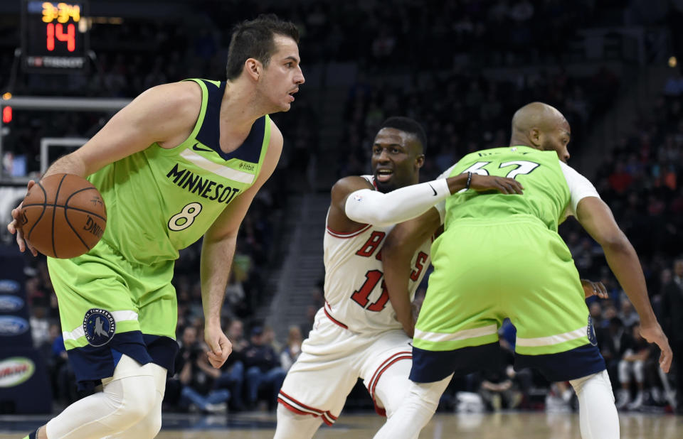 Minnesota Timberwolves' Nemanja Bjelica should provide useful fantasy numbers while Jimmy Butler is out. (AP Photo/Hannah Foslien)