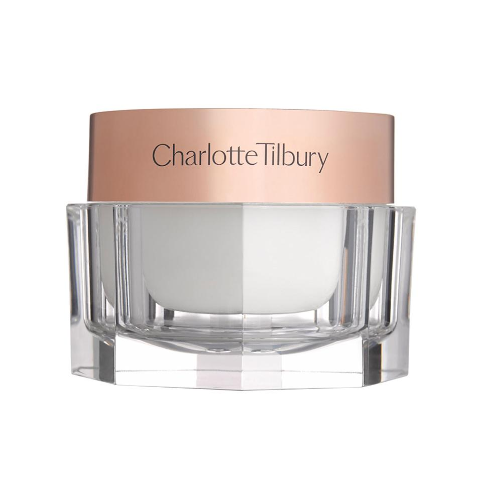 """<p>This lightly rose-scented cream is on the thick side, but it sure is pampering. Dreamed up by makeup artist Charlotte Tilbury, this glow-giving concoction — encased in a luxe clear jar with rose gold cap — will refresh and brighten tired skin. It's easy to see why models swear by Tilbury's """"magic"""": It's made with shea butter, rose hip oil, and, of course, hyaluronic acid to lock in moisture. <a rel=""""nofollow"""" href=""""http://www.charlottetilbury.com/us/charlottes-magic-cream.html"""">Charlotte Tilbury Charlotte's Magic Cream, $100</a>. </p>"""