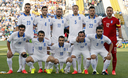 File photo of Greece's national soccer team posing before international friendly soccer match against Nigeria, in Chester