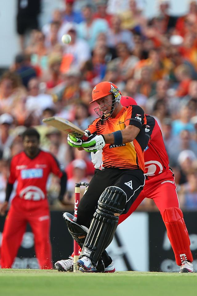 PERTH, AUSTRALIA - DECEMBER 29:  Herschelle Gibbs of the Scorchers bats during the Big Bash League match between the Perth Scorchers and the Melbourne Renegads at WACA on December 29, 2012 in Perth, Australia.  (Photo by Paul Kane/Getty Images)