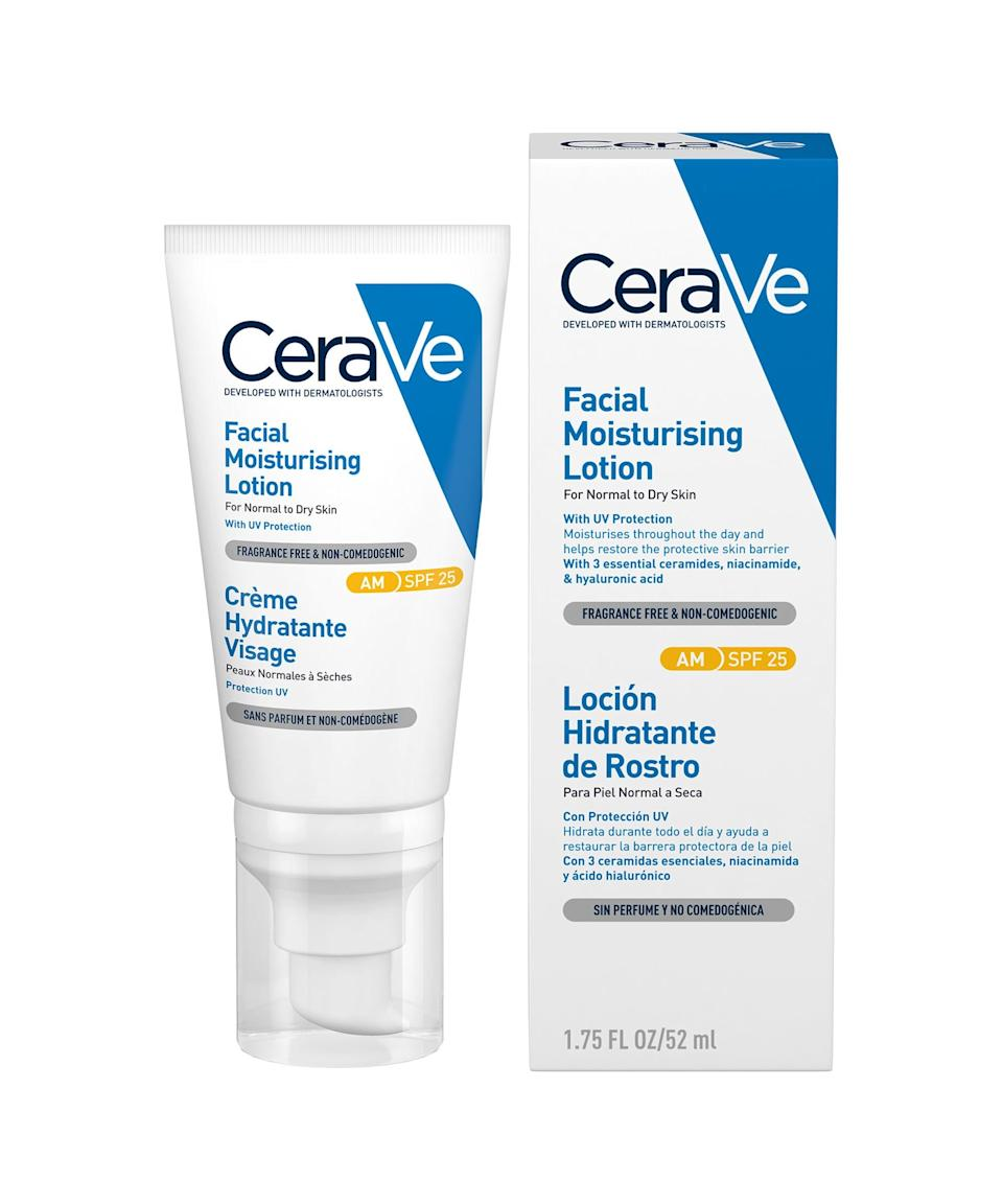 """<strong><h2>CeraVe AM Facial Moisturising Lotion</h2></strong><br>If you're after an easy daytime moisturiser, look no further than this. With broad spectrum SPF 25, it protects skin as it moisturises with ceramides, hyaluronic acid and <a href=""""https://www.refinery29.com/en-gb/niacinamide-skin-benefits-acne"""" rel=""""nofollow noopener"""" target=""""_blank"""" data-ylk=""""slk:niacinamide"""" class=""""link rapid-noclick-resp"""">niacinamide</a>. It's also oil-free and non-comedogenic, which means it's less likely to clog pores. <br><br><strong>CeraVe</strong> AM Facial Moisturiser SPF25, $, available at <a href=""""https://bit.ly/38P2jQt"""" rel=""""nofollow noopener"""" target=""""_blank"""" data-ylk=""""slk:Superdrug"""" class=""""link rapid-noclick-resp"""">Superdrug</a>"""