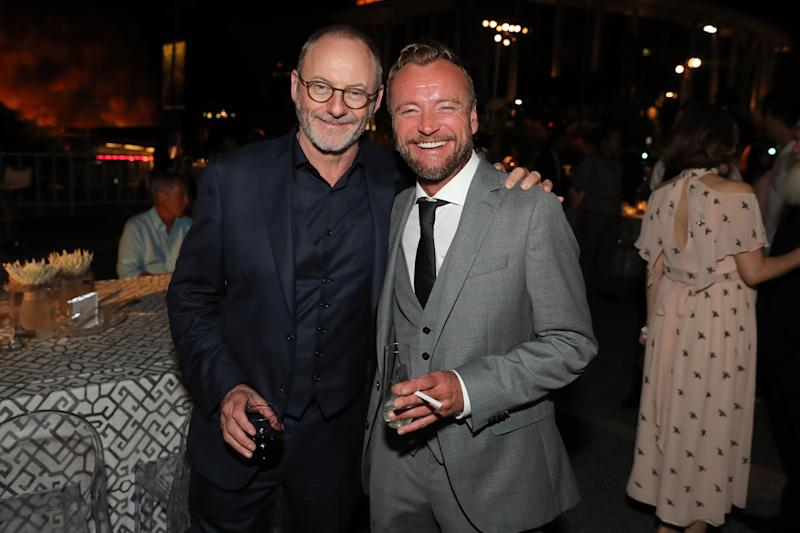 "LOS ANGELES, CA - JULY 12: Actors Liam Cunningham (L) and Richard Dormer attend the Premiere of HBO's ""Game Of Thrones"" Season 7 after party at Walt Disney Concert Hall on July 12, 2017 in Los Angeles, California. (Photo by Neilson Barnard/Getty Images)"