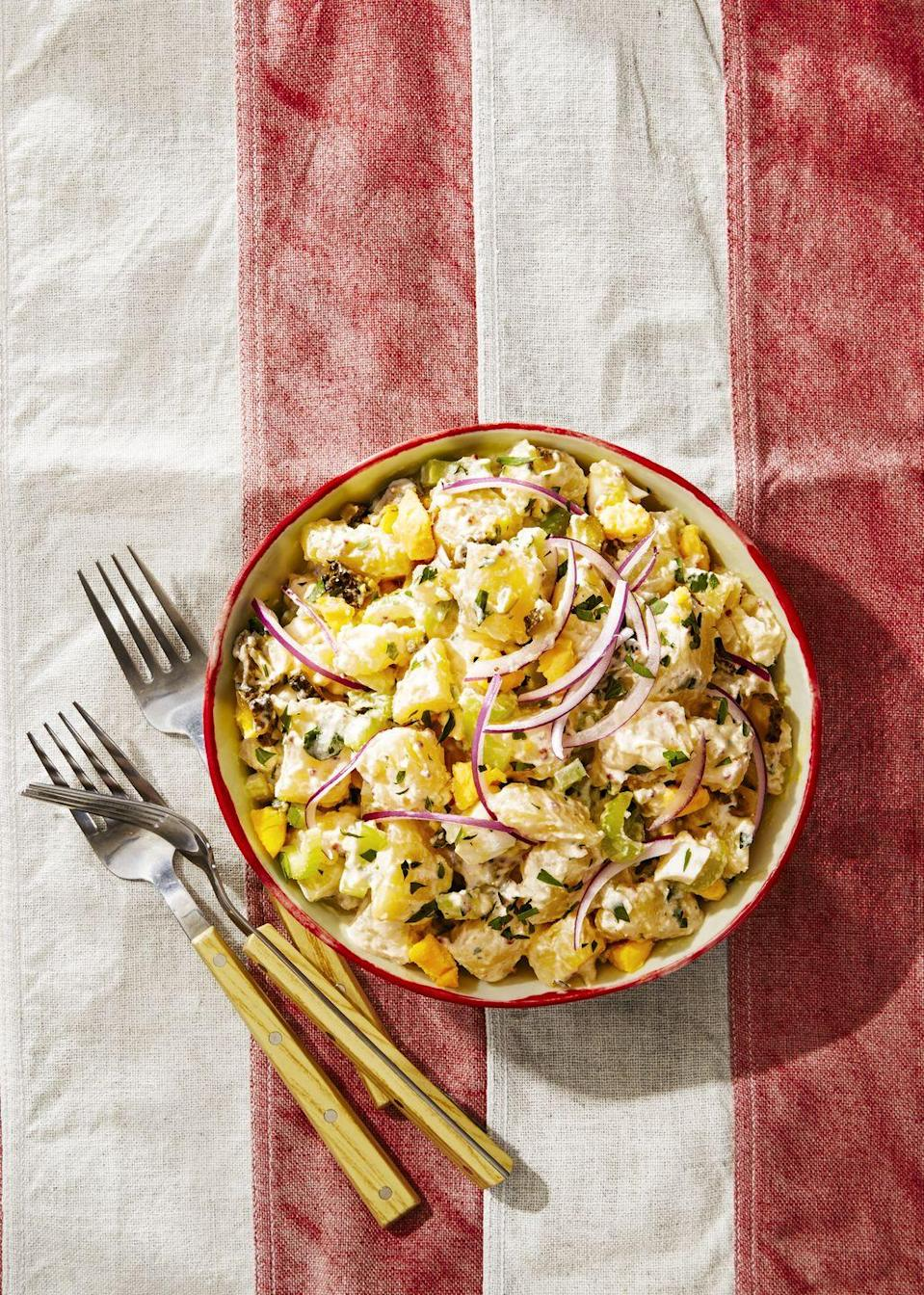 """<p>We lightened up this 4th of July recipe with Greek yogurt instead of mayo, so feel free to double scoop.</p><p><em><a href=""""https://www.goodhousekeeping.com/food-recipes/a39275/parisian-potato-salad-recipe/"""" rel=""""nofollow noopener"""" target=""""_blank"""" data-ylk=""""slk:Get the recipe for Parisian Potato Salad »"""" class=""""link rapid-noclick-resp"""">Get the recipe for Parisian Potato Salad »</a></em></p>"""