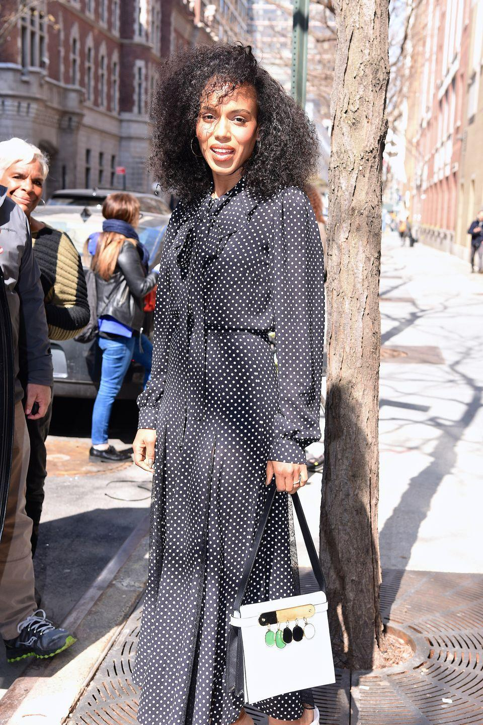 """<p>Summer dresses absolutely have their charms but there is something so romantic about a fabulous fall dress, like this polka dot number on <a href=""""https://www.townandcountrymag.com/leisure/arts-and-culture/a33445181/kerry-washington-aclu-documentary-september-issue-cover-story-interview/"""" rel=""""nofollow noopener"""" target=""""_blank"""" data-ylk=""""slk:Kerry Washington"""" class=""""link rapid-noclick-resp"""">Kerry Washington</a>. Juxtapose the girly with a touch of high-octane glam, in the form of white-hot leather boots and bag, plus the perfect pair of <a href=""""https://www.townandcountrymag.com/style/jewelry-and-watches/a36100206/roberto-coin-gold-hoops-review/"""" rel=""""nofollow noopener"""" target=""""_blank"""" data-ylk=""""slk:gold hoops"""" class=""""link rapid-noclick-resp"""">gold hoops</a>.</p>"""