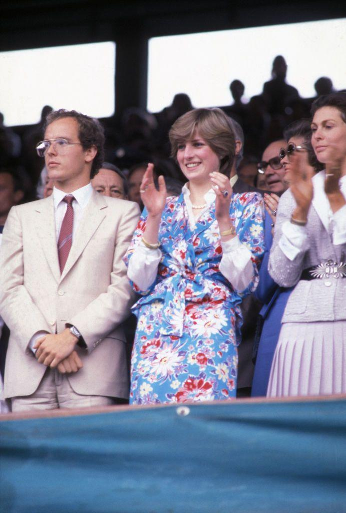 <p>Lady Diana Spencer wore a floral two-piece over a ruffled blouse. </p>