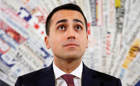 FILE PHOTO:5-Stars movement Di Maio looks on as he arrives for a news conference in Rome