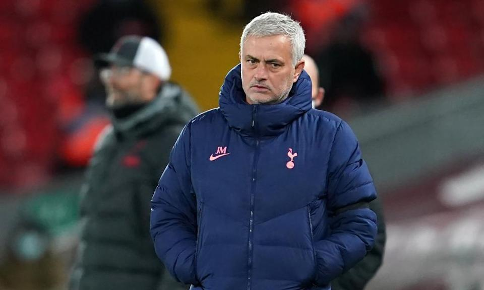 Jose Mourinho during Tottenham's defeat at Anfield in December