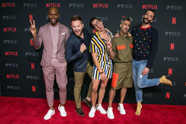 Karamo Brown, Bobby Berk, Antoni Porowski, Tan France, and Jonathan Van Ness promote <em>Queer Eye</em> on May 31, 2018. (Photo: Gabriel Olsen/FilmMagic)