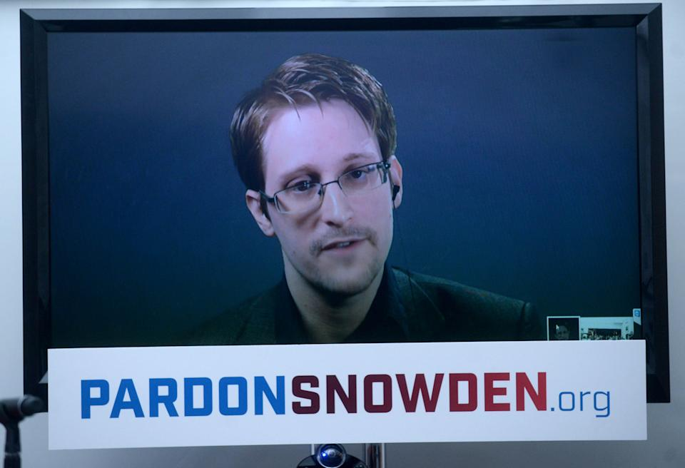 Edward Snowden speaks at the launch of a campaign calling for his pardon in 2016. (Screengrab/File)