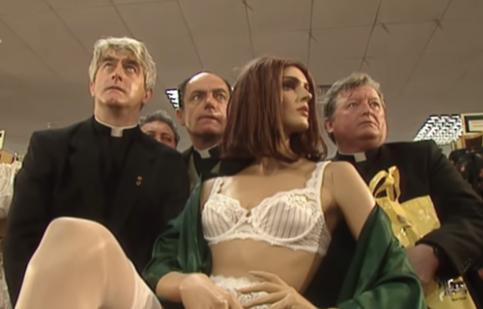Father Ted and a gaggle of priests got stuck in a lingerie department. (Channel 4)