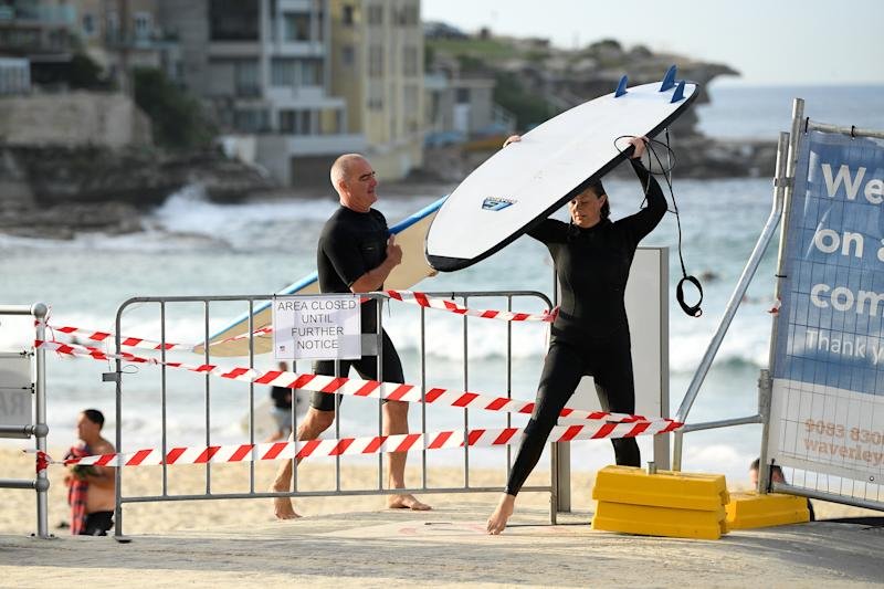 While Bondi Beach was closed last weekend, not everyone respected the new restrictions. Source: AAP