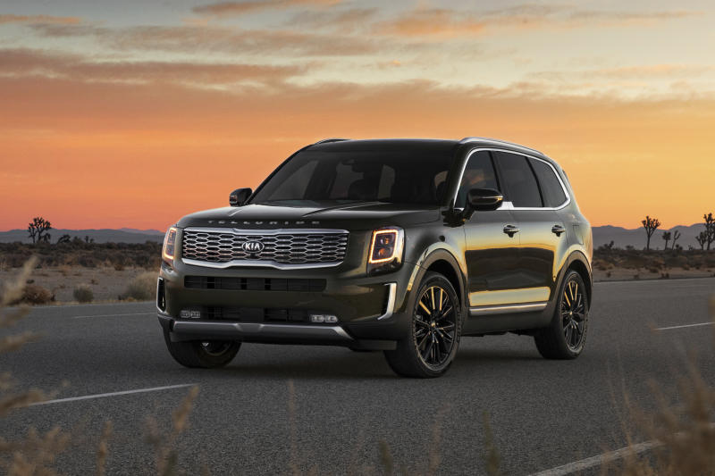 This undated photo provided by Kia shows the 2020 Kia Telluride, a new three-row SUV. Most adults will have no problem fitting in the third row of the Telluride, unlike many SUVs in the midsize class. (Kia Motors America via AP)