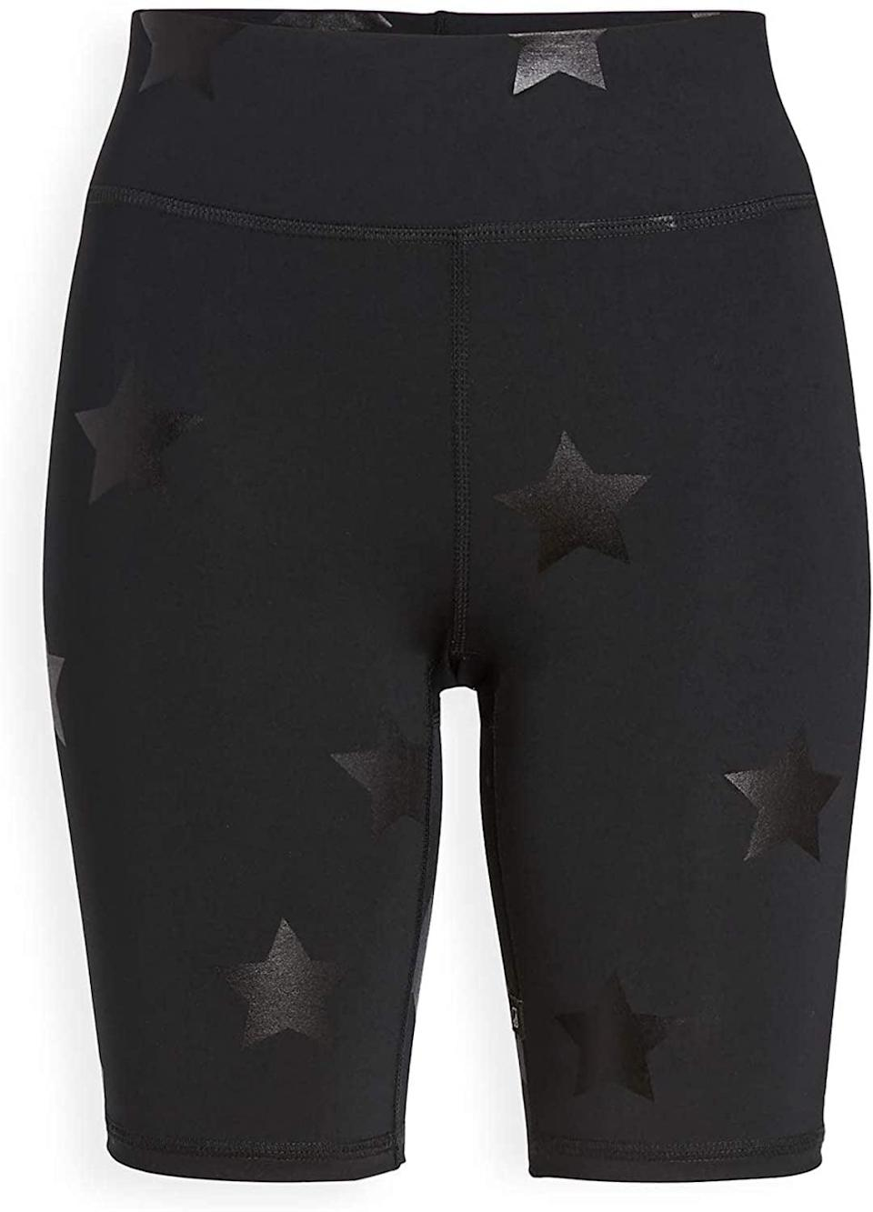 <p>We're very into the stars on these <span>Terez Foil Printed Bike Shorts</span> ($72).</p>