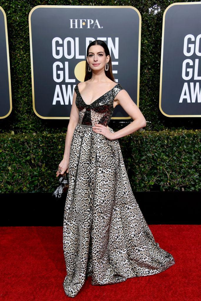 <p>Presenter Anne Hathaway attends the 76th Annual Golden Globe Awards at the Beverly Hilton Hotel in Beverly Hills, Calif., on Jan. 6, 2019. (Photo: Getty Images) </p>
