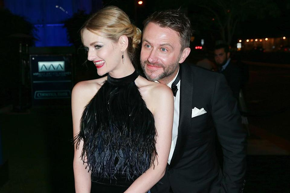 <p>Lydia Hearst and Chris Hardwick at AMC Networks' after-party at BOA Steakhouse in West Hollywood, Calif. (Photo: Rich Fury/Getty Images) </p>