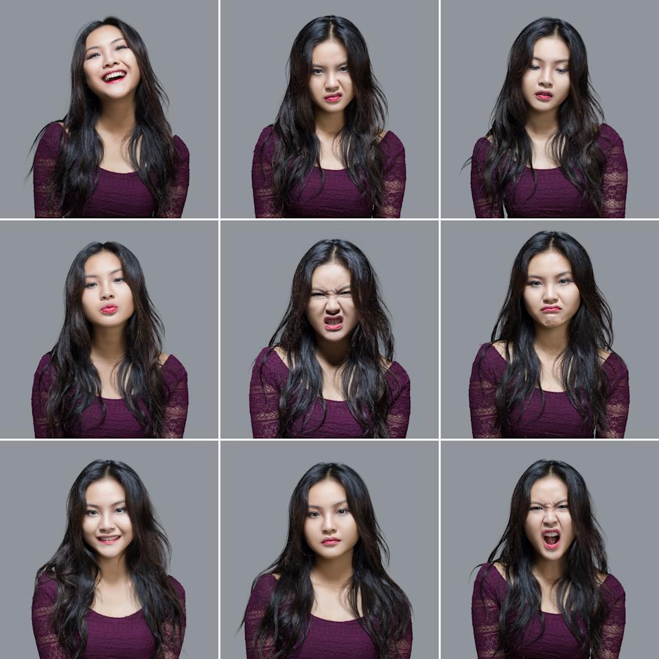 Pretty young woman making nine different facial expressions. All the images have been set against a light gray background. Some of her expressions include happiness, anger, boredom, thoughtful and worry. All the pictures were taken with a medium format Hasselblad Camera system and developed from Raw