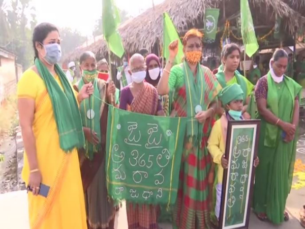 Farmers and women protest for having Amaravati as the only capital of Andhra Pradesh. (Photo ANI)