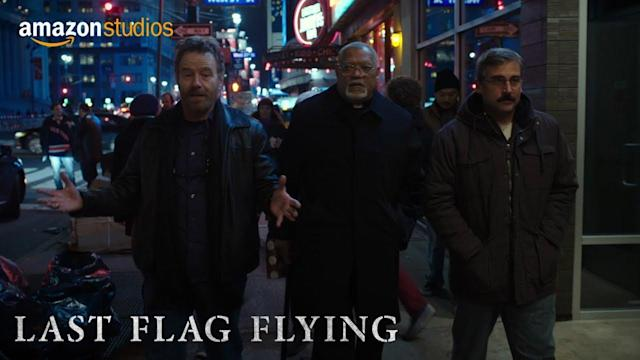 Bryan Cranston, Steve Carell and Laurence Fishburne go on a somber and silly road trip in first 'Last Flag Flying' trailer
