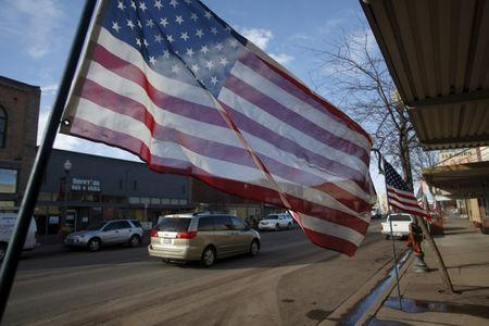 American flags line Broadway Ave. in Burns, Oregon