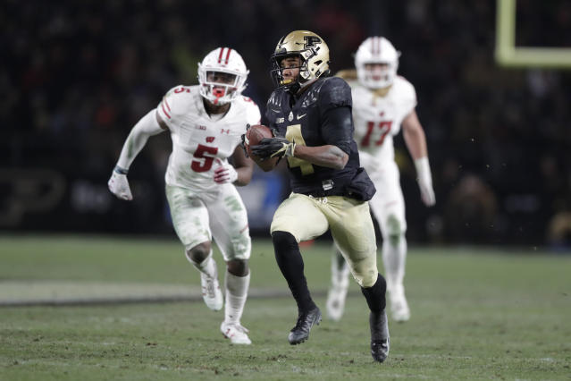 Purdue wide receiver Rondale Moore was a first-team All-Big Ten selection as a true freshman. (AP Photo/Michael Conroy)