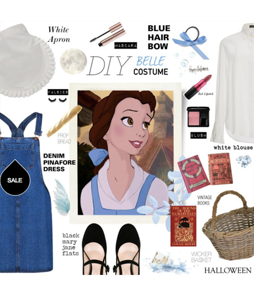 "<p>This <a rel=""nofollow"" href=""http://www.polyvore.com/diy_belle_costume/set?id=209556714"">cute denim jumper and blouse set</a> just goes to show you, a Disney princess costume doesn't have to be cheesy. </p>"