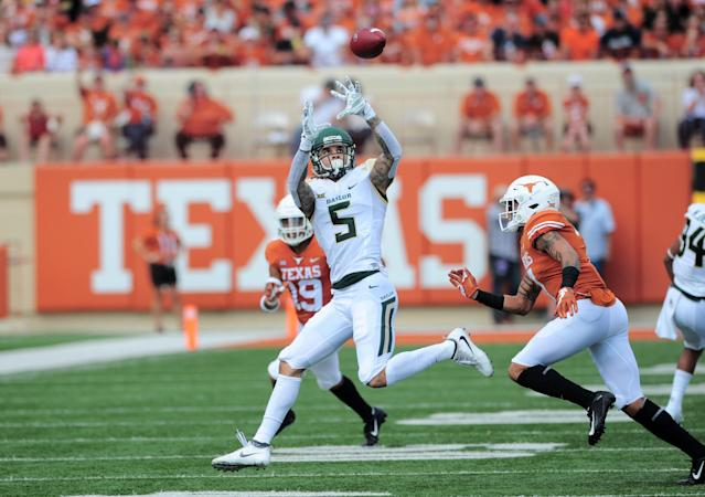 After transferring to Baylor, Jalen Hurd transitioned from running back to wide receiver. Now he's a member of the San Francisco 49ers. (Photo by John Rivera/Icon Sportswire via Getty Images)