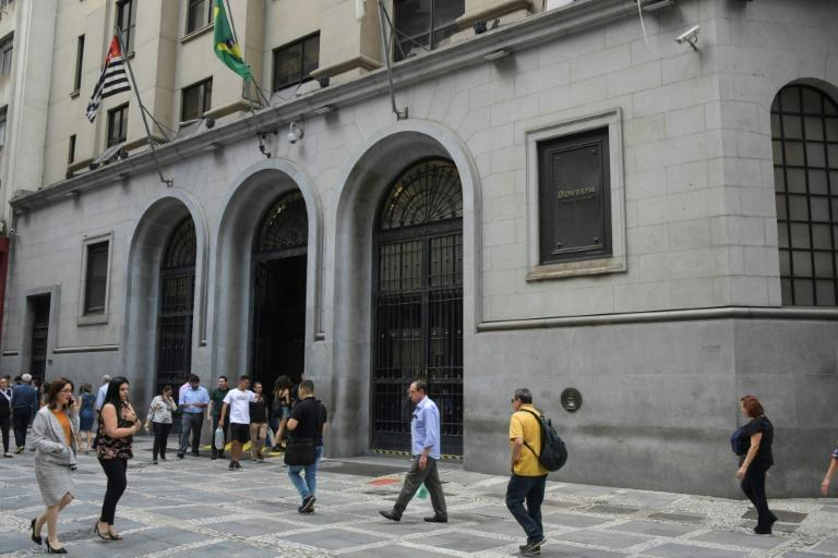 The Sao Paulo Stock Exchange in downtown Sao Paulo, Brazil -- trading was suspended twice on March 12, 2020 in a bid to halt the plunge