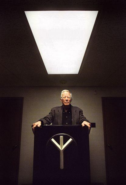 PHOTO: In this Jan. 4, 2000, file photo, William Pierce, founder of the White Power group, National Alliance, shown in Hillsboro, W.V. (Michael Williamson/The Washington Post via Getty Images, FILE)