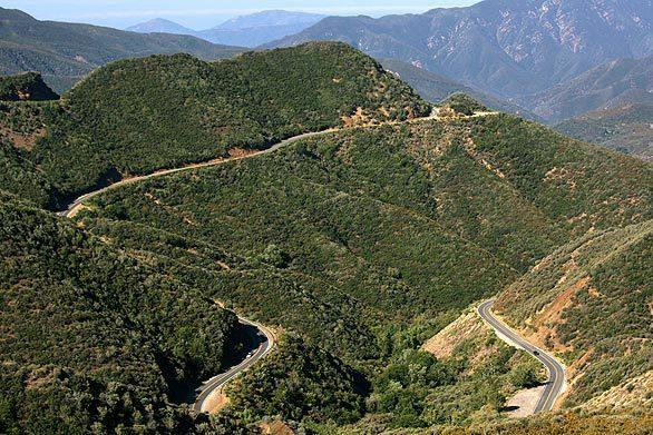 Highway 33 winds through the mountains of the Los Padres National Forest in Ventura County.