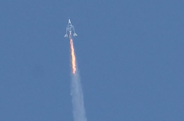 The vessel went on to reach 85 kilometers (52 miles) in altitude -- above the US definition of space -- and landed safely, but data retrieved from FlightRadar24 showed it had flown outside its designated path (AFP/Patrick T. FALLON)