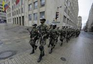 Soldiers are deployed at Bolivar Square in Bogota for the vote