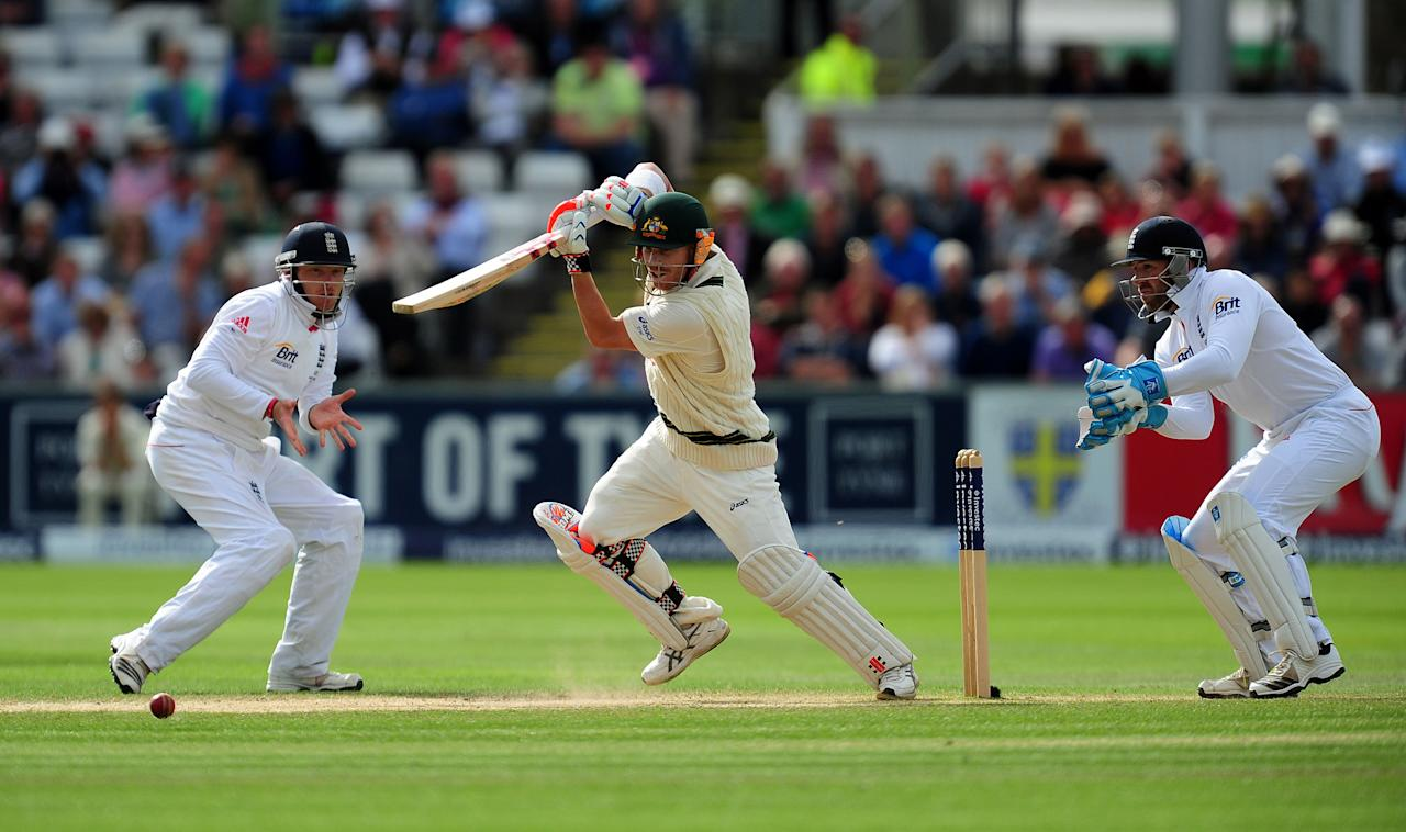 Australia's David Warner in action during day four of the Fourth Investec Ashes test match at the Emirates Durham ICG, Durham.