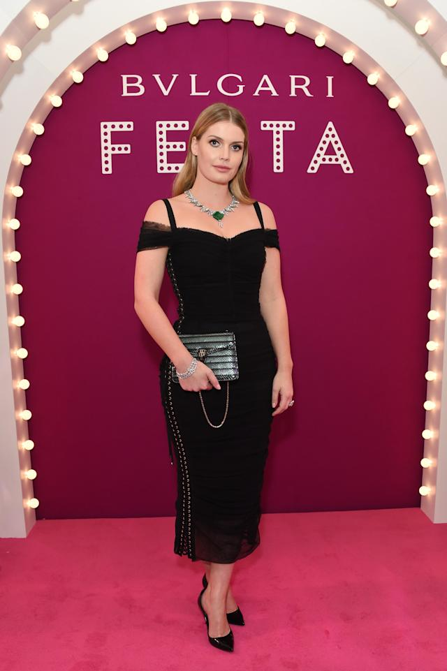 <p>Spencer posed at the Bulgari Festa event wearing an incredible emerald necklace by the brand around her neck and another Dolce & Gabbana dress. (Photo: Getty Images) </p>
