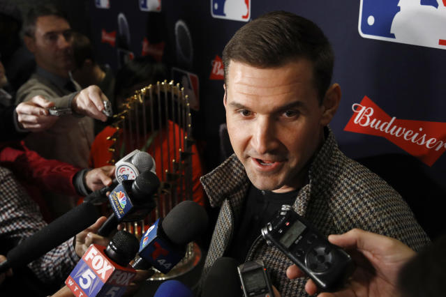 Washington Nationals first baseman Ryan Zimmerman speaks with members of the media as he arrives for the premiere of a documentary film on the team's first World Series baseball championship, Monday, Dec. 2, 2019, in Washington. (AP Photo/Patrick Semansky)