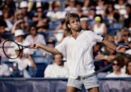 <p>As mentioned, tennis star Andre Agassi was known for his laid-back tournament wear in the '80s. Here, he wore a pair of acid wash jean shorts with his tennis whites at the U.S. Open. </p>