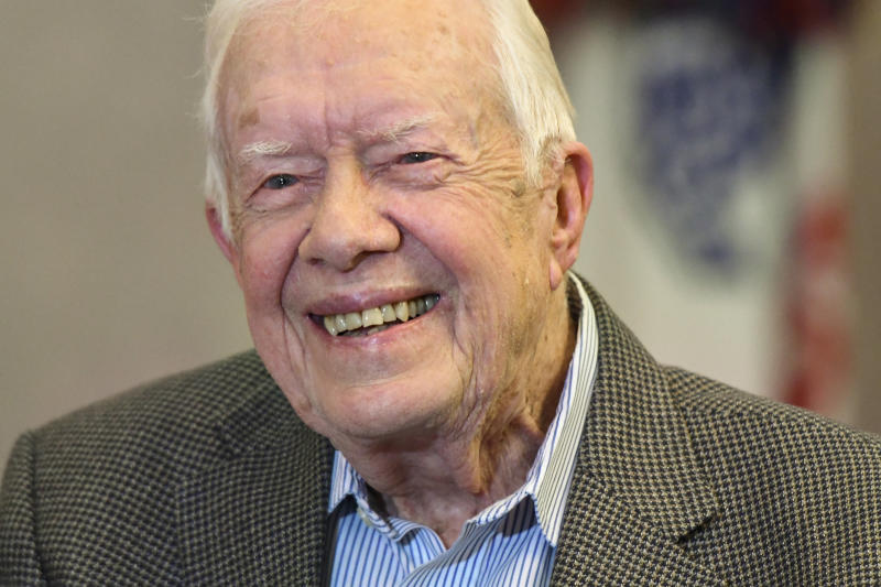 Former President Jimmy Carter, pictured here last April, was born on Oct. 1, 1924, in Plains, Georgia. On Friday he surpassed George H.S. Bush as the longest-living president in U.S. history. (ASSOCIATED PRESS)