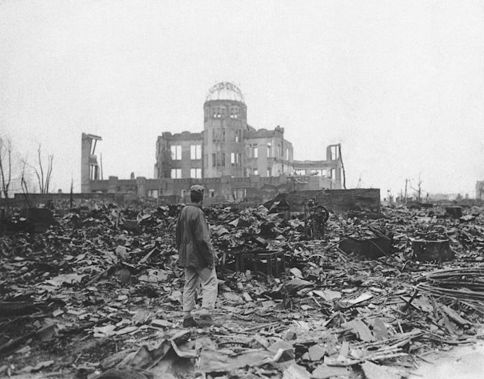 """The ruins of Hiroshima, Japan, weeks after the United States' atomic bombing during World War II in August 1945. <span class=""""copyright"""">(Associated Press)</span>"""