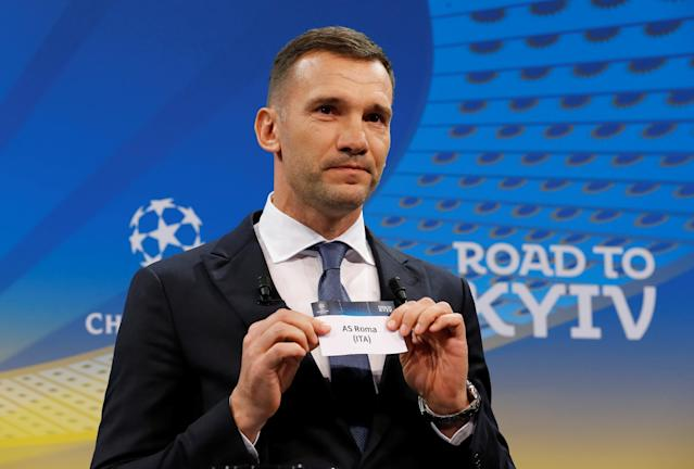 Soccer Football - Champions League Quarter-Final Draw - Nyon, Switzerland - March 16, 2018 Andriy Shevchenko draws AS Roma REUTERS/Pierre Albouy