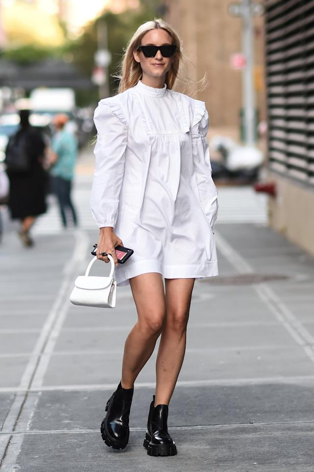 <p>Make one of the biggest trends of the season (Victorian-style babydoll dresses!) a little more edgy with chunky-sole ankle boots.</p>