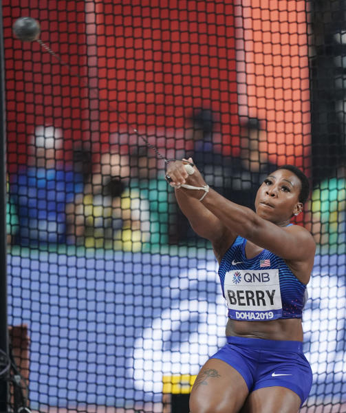 Gwen Berry, of the United States, competes in the women's hammer throw final at the World Athletics Championships in Doha, Qatar, Saturday, Sept. 28, 2019. (AP Photo/David J. Phillip)