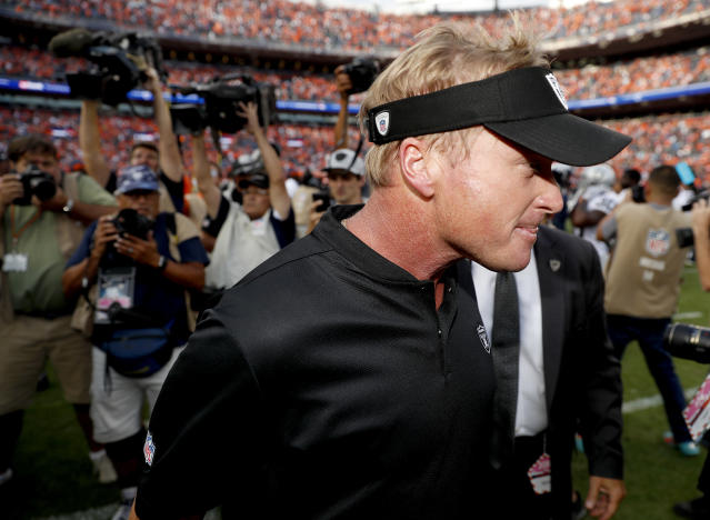 Jon Gruden is still searching for his first win since he returned to the Raiders as head coach. (AP)