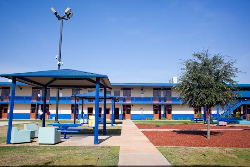 Karnes County Residential Center in Texas was converted to a family immigrant detention center in 2014. Immigrant rights groups say pregnant women are routinely getting detained here, in a departure from practice under the Obama administration. (Drew Anthony Smith via Getty Images)