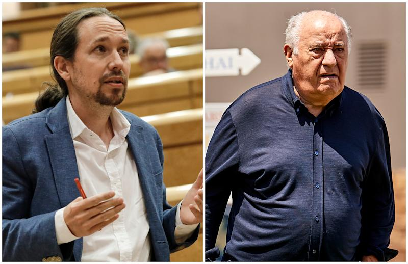 Pablo Iglesias, secretario general de Unidas Podemos, y Amancio Ortega, dueño de Inditex. (Foto: Jesús Hellín / Pool / Europa Press / Getty Images / Fotopress / Getty Images).